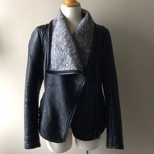 BLANK NYC shawl collar Moto jacket knit inside xs